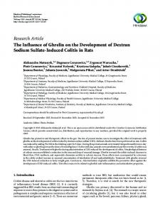 The Influence of Ghrelin on the Development of Dextran Sodium ...