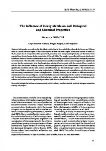 The Influence of Heavy Metals on Soil Biological and Chemical