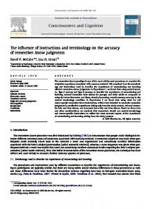 The influence of instructions and terminology on the accuracy of ...