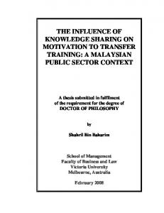 the influence of knowledge sharing on motivation ... - Semantic Scholar