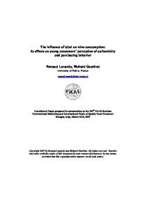 The influence of label on wine consumption: its ... - AgEcon Search