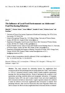 The Influence of Local Food Environments on