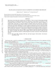 THE INFLUENCE OF MAGNETIC FIELDS ON ABSORPTION AND ...