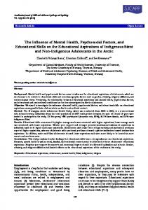 The Influence of Mental Health, Psychosocial Factors, and Educational ...