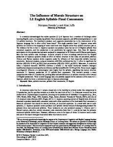 The Influence of Moraic Structure on L2 English Syllable ... - Language