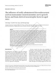 The influence of orally administered docosahexaenoic acid on ...
