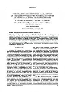 the influence of phosphorus slag addition on microstructure and ...
