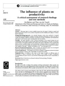 The influence of plants on productivity - CiteSeerX