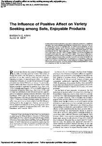 The influence of positive affect on variety seeking ...