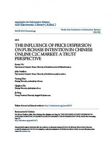 the influence of price dispersion on purchase intention in chinese ...