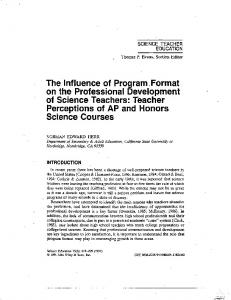 The influence of program format on the professional development of ...