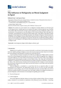 The Influence of Religiosity on Moral Judgment in Sport - MDPI