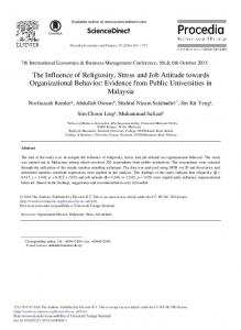 The Influence of Religiosity, Stress and Job Attitude towards ... - Core