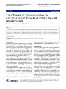 The influence of resistance and carrier concentration on the output ...