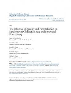 The Influence of Rurality and Parental Affect on Kindergarten