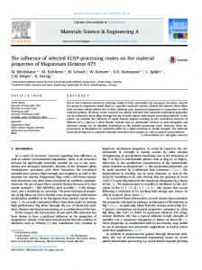 The influence of selected ECAP-processing routes on