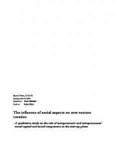 The influence of social aspects on new venture creation - DiVA