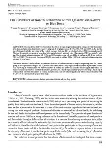 THE INFLUENCE OF SODIUM REDUCTION ON THE QUALITY AND ...