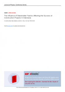 The Influence of Stakeholder Factors Affecting the
