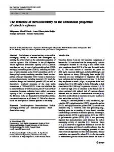The influence of stereochemistry on the antioxidant ... - Springer Link