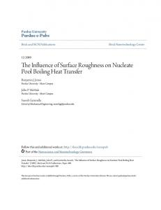 The Influence of Surface Roughness on Nucleate Pool Boiling Heat ...