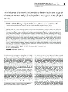 The influence of systemic inflammation, dietary intake and ... - Nature