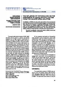 THE INFLUENCE OF TARTARIC ACID ON THE PHENOMENA OF Al ...