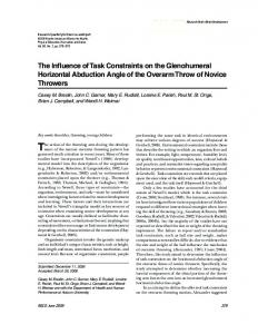 The Influence of Task Constraints on the Glenohumeral Horizontal