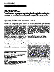 The influence of temperature and host availability on the host ...