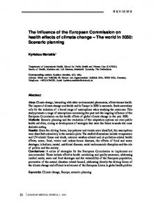 The influence of the European Commission on health effects ... - Keminet