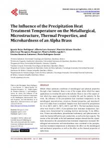 The Influence of the Precipitation Heat Treatment Temperature on the ...