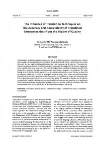 The Influence of Translation Techniques on the Accuracy and ... - Neliti