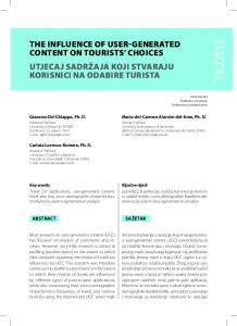 The Influence of User-Generated Content on Tourists' Choices
