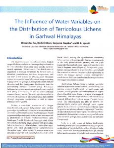 The Influence of Water Variables on the Distribution of ...