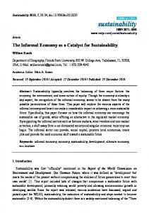The Informal Economy as a Catalyst for Sustainability - MDPI