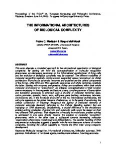 the informational architectures of biological complexity