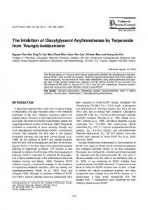 The Inhibition of Diacylglycerol Acyltransferase by
