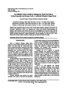 The Inhibition of Some Foodborne Pathogens by ...