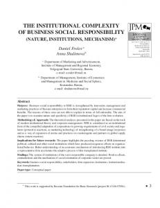 the institutional complexity of business social responsibility
