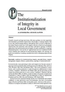 The Institutionalization of Integrity in Local Government