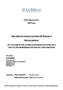 The Institutionalization Of Project Management - LUISS Guido Carli