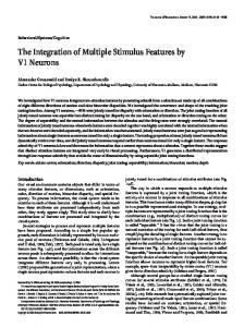 The Integration of Multiple Stimulus Features by V1 ... - Semantic Scholar