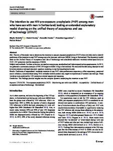 The intention to use HIV-pre-exposure prophylaxis ... - Springer Link