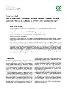 The Intention to Use Mobile Student Portal: A Mobile Human ...
