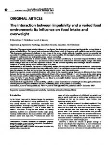 The interaction between impulsivity and a varied food environment: its ...