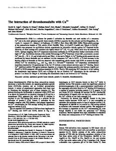 The interaction of thrombomodulin with Ca2+ - Wiley Online Library
