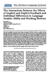 The interactions between the effects of implicit ... - Wiley Online Library