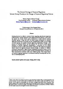 The Interest Ecology of Financial Regulation - Stefano Pagliari