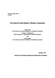 The Internal Control System of Russian Corporations