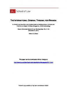 the international criminal tribunal for rwanda - SSRN papers